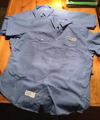 NWOT USPS Approved Postal Worker Carrier Blue Button Up Shirt w/Patch Large
