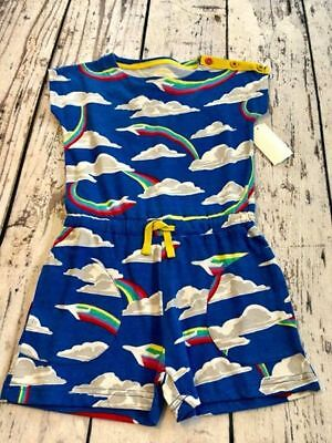 NWT Mini Boden Girls Colorful Jersey Romper size 5-6 Rainbow Blue
