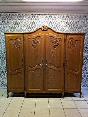 Wardrobe 4 door Oak Louis XV,French style,Delivery possible, see description