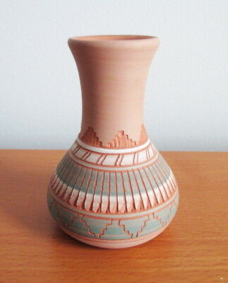 Terrie Charlie Mini Vase Navajo Pottery Signed Etched Teal White Feather 3""