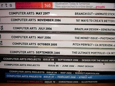 12 Computer Arts + Projects Magazines from 2005, 2006, 2007, 2008