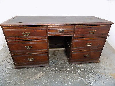 antique,oak,desk,leather top,drawers,writing desk,table,hall,panelled sides,work