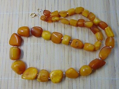 Vintage old natural Honey Egg Yolk Cognac Baltic Amber beads Necklace