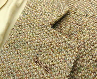 Vtg Christian Dior Green Brown Donegal Fleck Woven TWEED Sport Coat 44 R USA