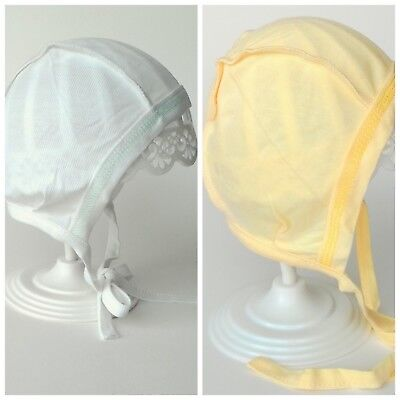 BABY HAT 0-3 (40cm) 3-6 (44cm) Months WITH TIES INSIDE OUT STITCHES 100% BAMBOO