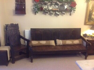 Late 18th Century large oak settle / bench inlaid with mahogany BARGAIN