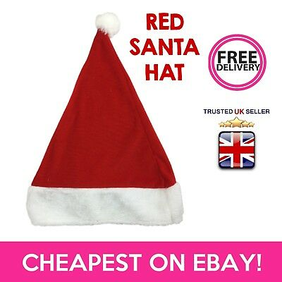 Deluxe RED White Xmas Santa Father Christmas OFFICE WORK Fancy Dress Party HAT