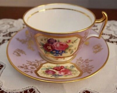 Antique Spode Copeland Hand Painted Cup and Saucer (Davis Collamore NY)