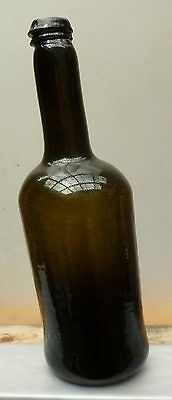 LARGE BLACK GLASS  BOTTLE-Wedge Lip-Bell Bottom-Extremely Lopsided-1800-1820s