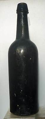 IRON PONTIL WEDGE TOP WHISKEY CYLINDER-Deep Yellow Green-1850s