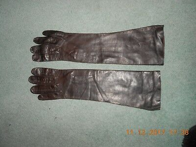 Vintage Ladies Long Brown Fine Soft Leather Gloves  Italian size 7.5