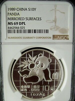 1989 China Panda Mirrored Surfaces Ngc Ms69 Dpl 1 Ounce Silver Coin *very Rare*