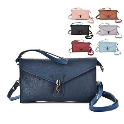 Ladies Faux Leather Envelope Clutch Handbag with Strap