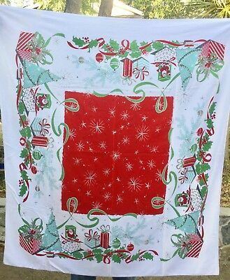 Vintage Christmas Tablecloth Mid Century 45 x 50