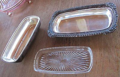 Silver on Copper butter dish Starburst glass insert silver dining dishes butter