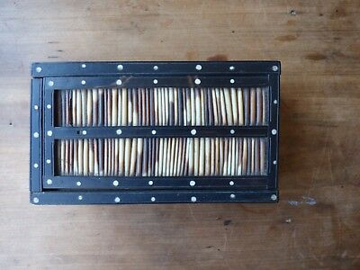 Antique Victorian Porcupine Quill And Ebony Box With Sliding Lid