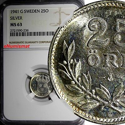SWEDEN Gustaf V SILVER 1941 G 25 Ore NGC MS63 WWII Issue TOP GRADED COIN  KM#785