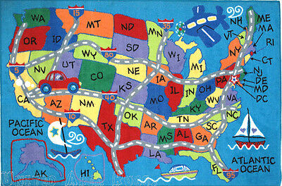 5x8 educational area rug usa map states kids play road school time blue new