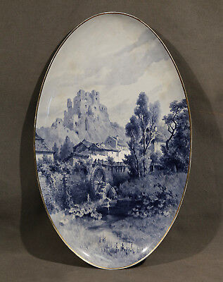 Wonderful 19th Century British Hand Painted Porcelain Dish of a Water Mill Scene