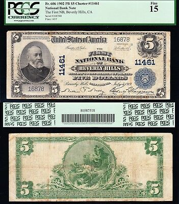 Awesome *RARE* 1902 $5 BEVERLY HILLS, CA National Banknote! PCGS 15!  FREE SHIP!