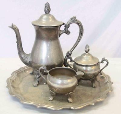 Ranleigh Vintage Tea/Coffee Set & Tray Possibly Silver Plate 4 Pieces #13293