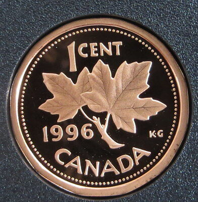 1996 Canada 1 Cent Bronze Penny - Maple Leaf - Proof  Mint condition