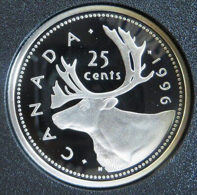 Sterling Silver 1996  Canada 25 Cent Quarter Dollar - Caribou - Proof