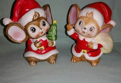 HOMCO Ceramic Christmas Mouse Pair of Mice Red Suit Santa Figurines #5405