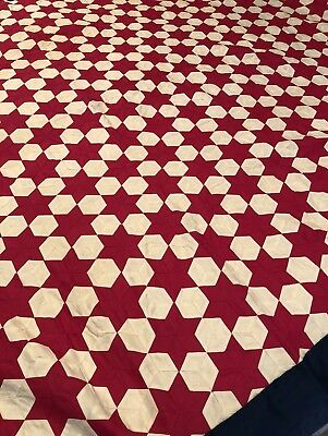 "Vintage 100% Hand Stitched Pink & White ""6 Point Star"" Small Quilt Top~54"" X 81"""