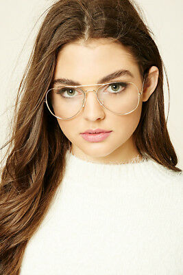 Classic Clear Lens Aviator Glasses Retro Vintage Eyewear Fake Office Smart New