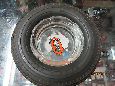 Vintage Olympic Tyres Ashtray Glass & Rubber Tyres