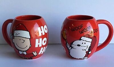Peanuts Snoopy & Charlie Brown 3 Sided Jumbo Red Mug Ceramic Christmas Ho Ho Ho