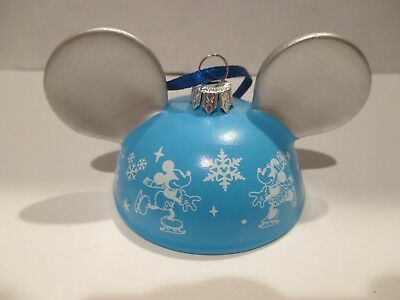 Disney Disney Parks Mickey Mouse Hat Ears Christmas Ornament Ice Skating #'d Le