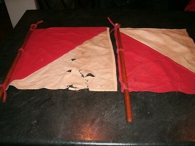 2 Vintage US Army WWII Signal Corps Flags
