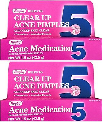Benzoyl Peroxide 5% Maximum Strength Acne Medication Gel 1.5 oz each 2 PACK
