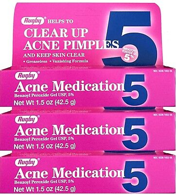 Benzoyl Peroxide 5 % Maximum Strength Acne Medication Gel 1.5 oz each 3 PACK
