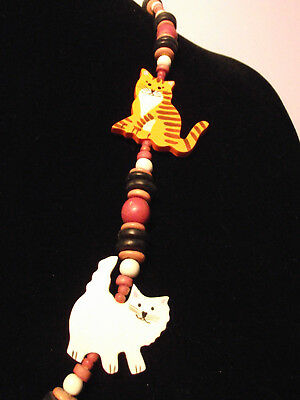Used Wooden Handmade Persian Cat Ladies Necklace