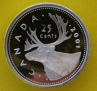 Sterling 92.5% Silver 2001 Canada 25 Cent Quarter Dollar - Caribou - Proof