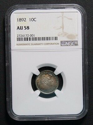 1892 Barber Silver Dime NGC AU58 TONING TONED COLOR -PRICE REDUCED-