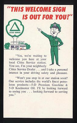 1950s Cities Service Marsh's Station Glen Burnie Maryland Graphic Ad Card Mailer