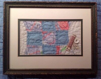 Antique Vintage Framed, Double Matted Quilt Square With Sewing Accessories.