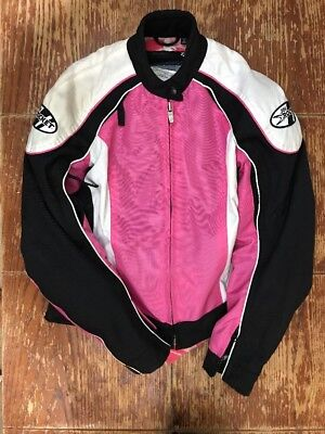 99 Cent Auction Joe Rocket Girl Jacket Pink Black Lined  Motorcycle Armor Small