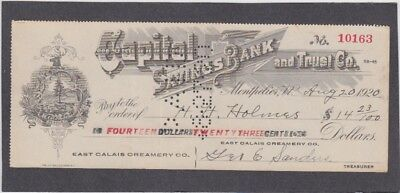 Capital Savings Bank Check, Montpelier, Vermont  1920  East Calais Creamery Co.