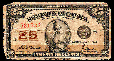 CANADA- DOMINION 25 CENTS BANKNOTE 1923 PICK-11b GOOD