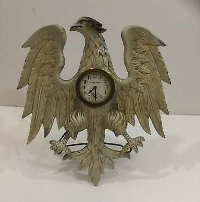 Unusual Antique Aluminum American Eagle Clock By Universal Novelty Clock Company