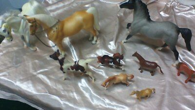 lot of 9 Toy Horses  various kinds sizes