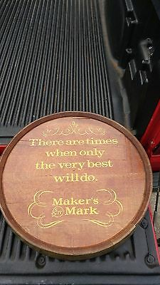 RARE Maker's Mark Bourbon Whiskey Whisky Oak Barrel Head Advertising Wall Sign