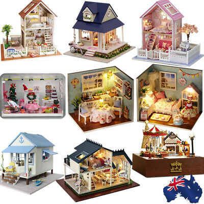 Various Wooden Handmade Doll House Miniature DIY Kit Furniture Accessory Gift AU