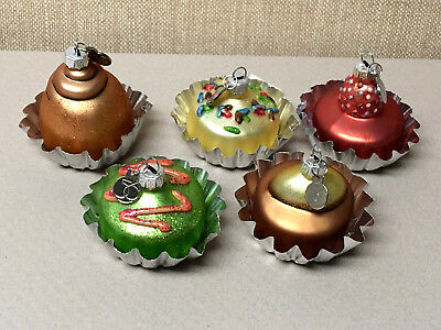 5-Miniature Vintage Glass DEPT 56 Decorated Cupcake ORNAMENTS!