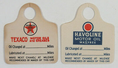 Vintage Model T Texaco Oil Change Tags Pair Havoline Motor Oil